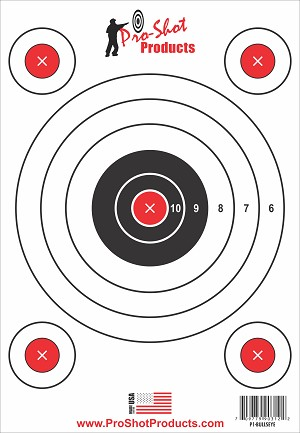"9"" x 13"" 5 Bullseye Target with Adhesive Backing - 6 Pack"